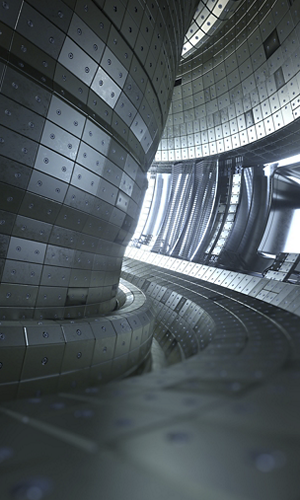 Fusion reactor Tokamak. Reaction chamber. Fusion power. 3d illustration