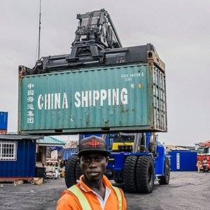 Container in the port of Tema