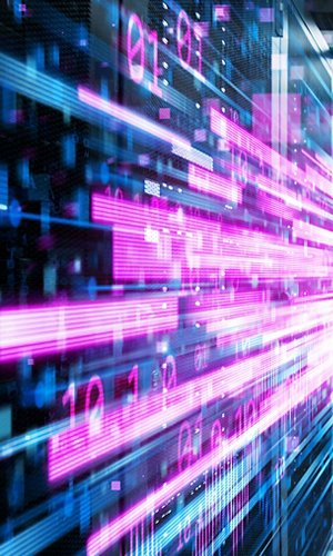 Shot of Corridor in Working Data Center Full of Rack Servers and Supercomputers with Pink Neon Visualization Projection of Data Transmission Through High Speed Internet.