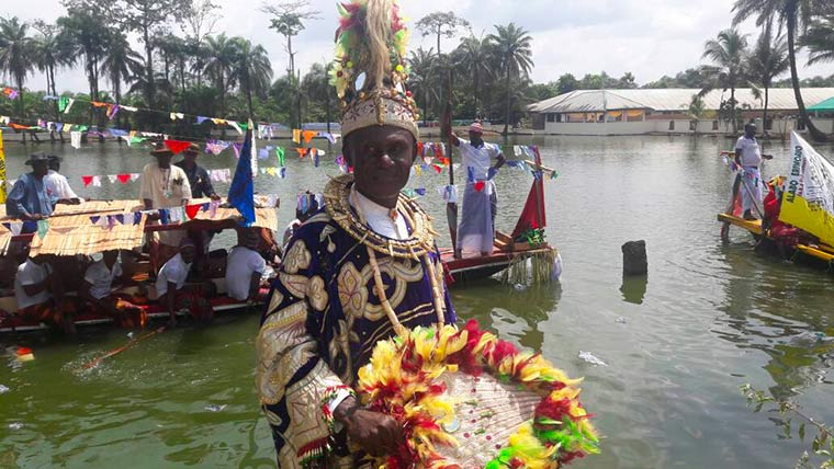 Regatta show: a Niger Deltan in his ceremonial outfits