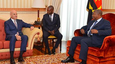 The President of Angola João Gonçalves Lourenço meets Eni CEO Claudio Descalzi