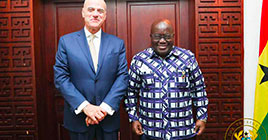 The President of the Republic of Ghana, Nana Addo Dankwa Akufo-Addo, and Eni CEO Claudio Descalzi met today in Accra to discuss Eni's activities in the Country.