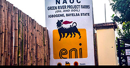 Entrance of the NAOC GRP FARMS, Igbogene, Yenagoa, Bayelsa. Logo