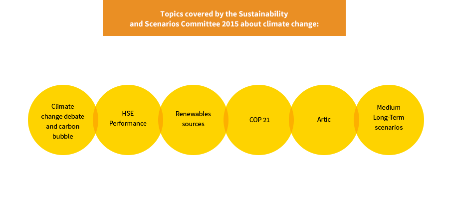Issues dealt with by the Sustainability and Scenarios Committee in 2015 in relation to climate change